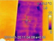 Thermal imaging of a porous wall